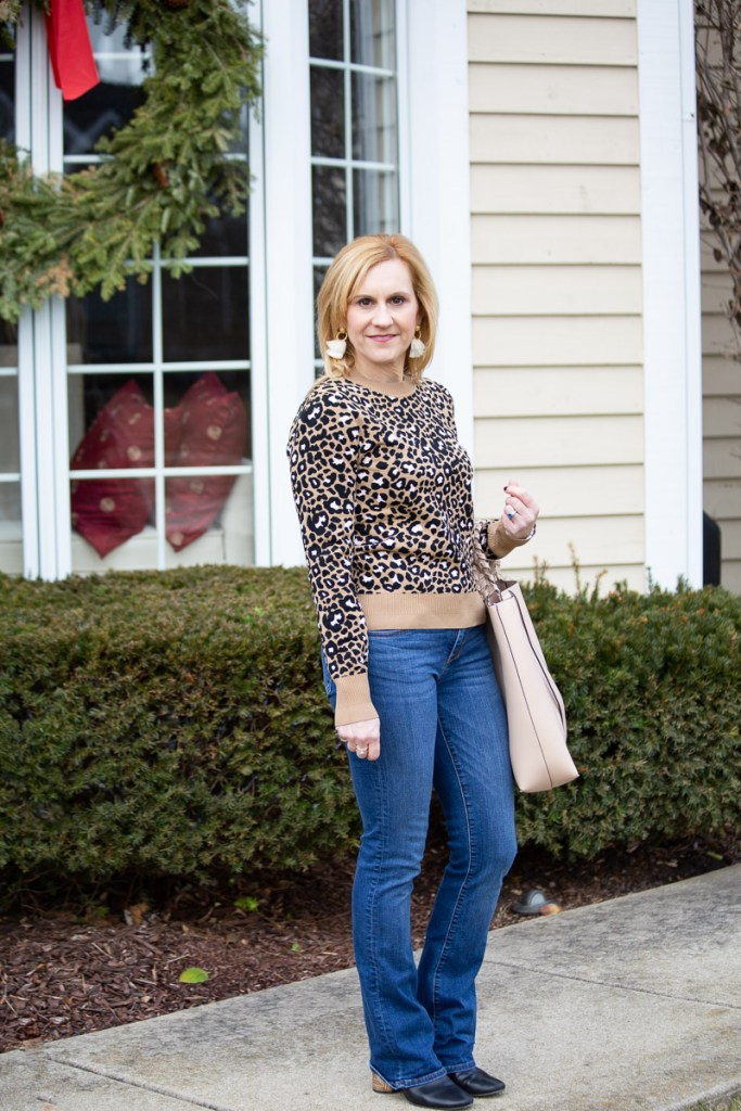 Sharing my love of leopard with this sweater by Tara Jarmon paired with Kut from the Kloth bootcut jeans.