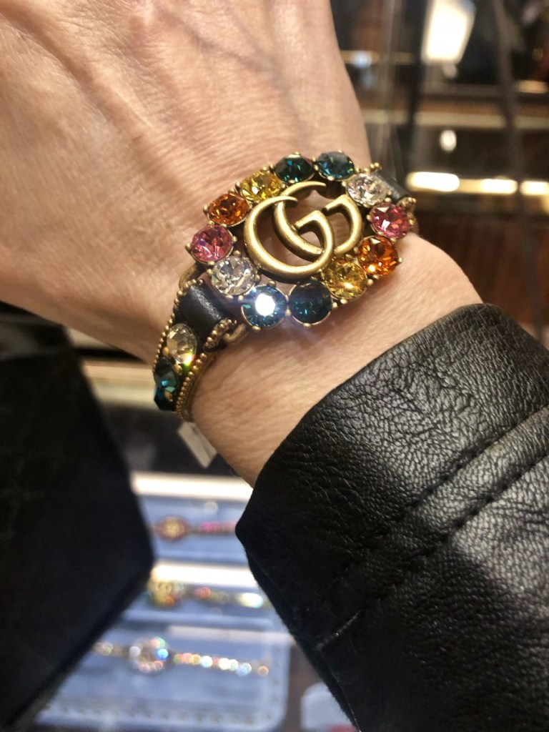 Gucci Rhinestone Leather Bracelet with Double G in Black leather