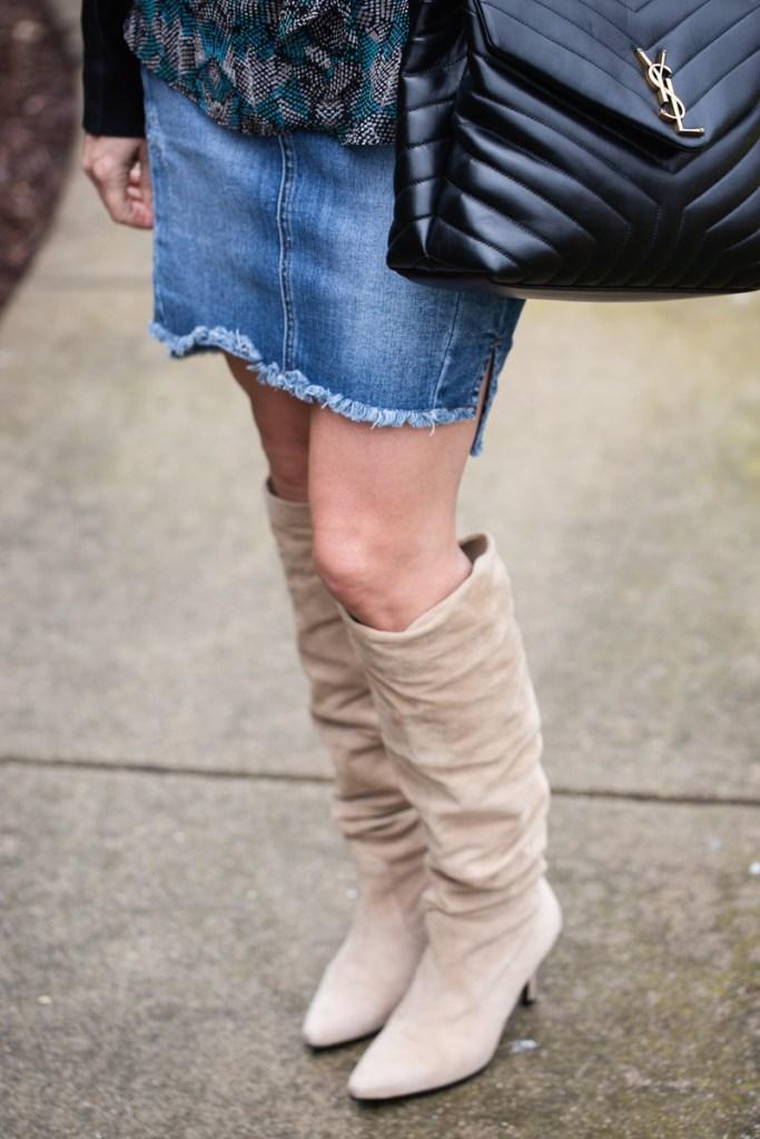 Stuart Weitzman beige suede slouch knee boots