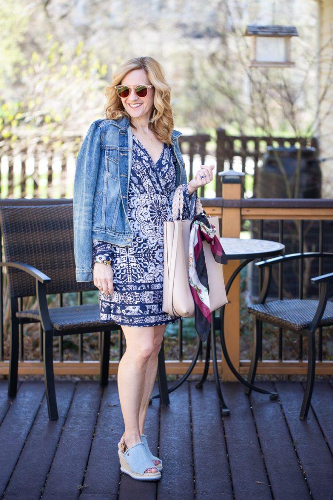 Wearing a boho chic dress with jewelry from Heidi J Hale.