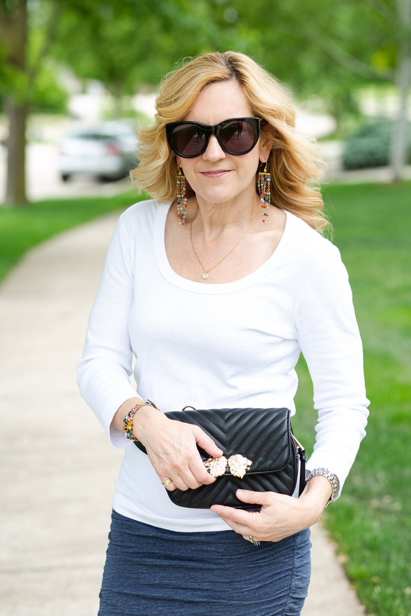 Three Dots White Tee with Black Fanny Pack from Zara