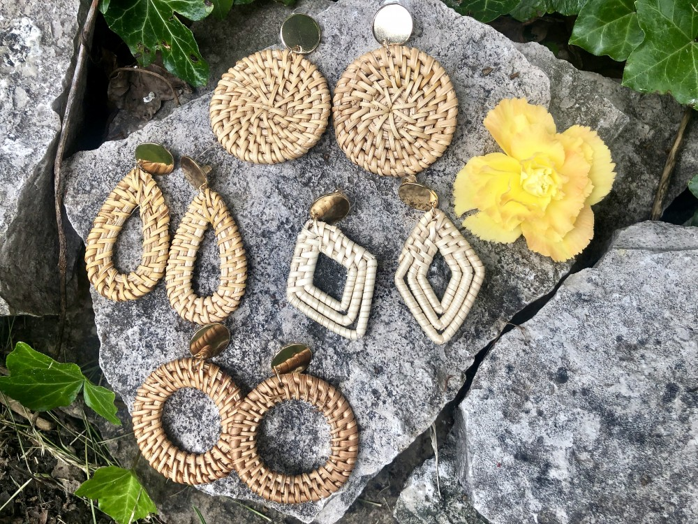 Rattan Statement Earrings Set from Amazon