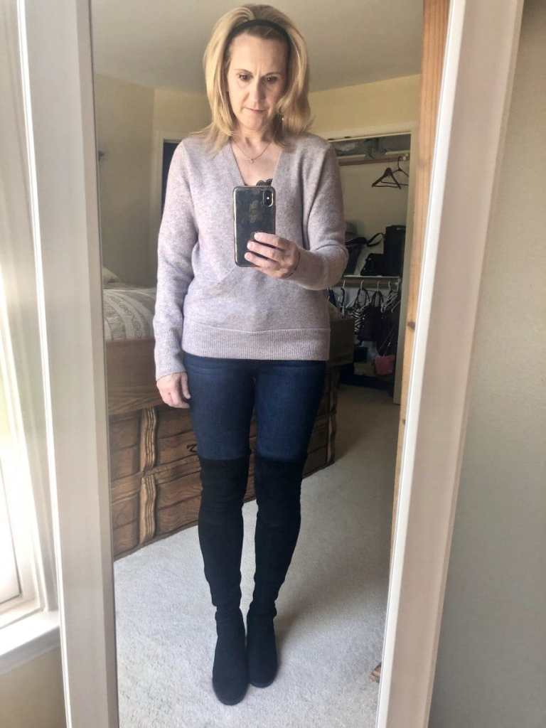 Madewell Sweater in Heather Boysenberry from my Nordstrom Anniversary Sale purchases.
