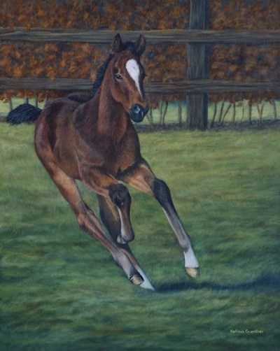 Thoroughbred foal, acrylic art, Kathrin Guenther, pet portrait