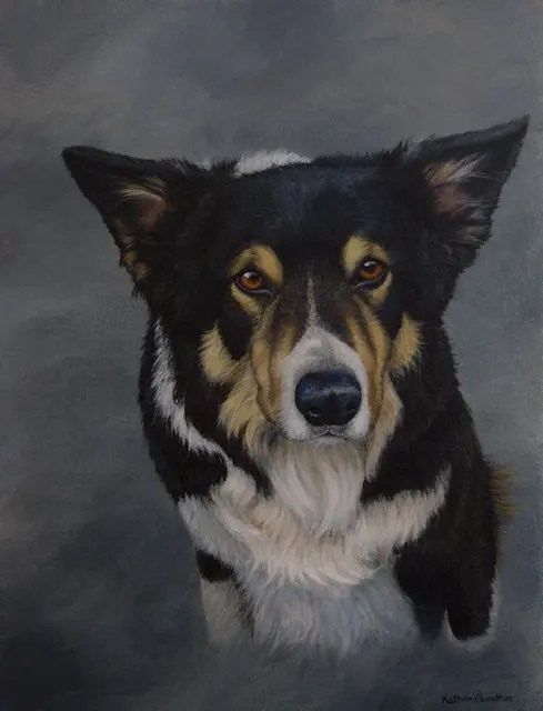 Sheepdog painting by Kathrin Guenther, canine, dog, art, Custom made pet portraits, equine and wildlife art by Kathrin Guenther