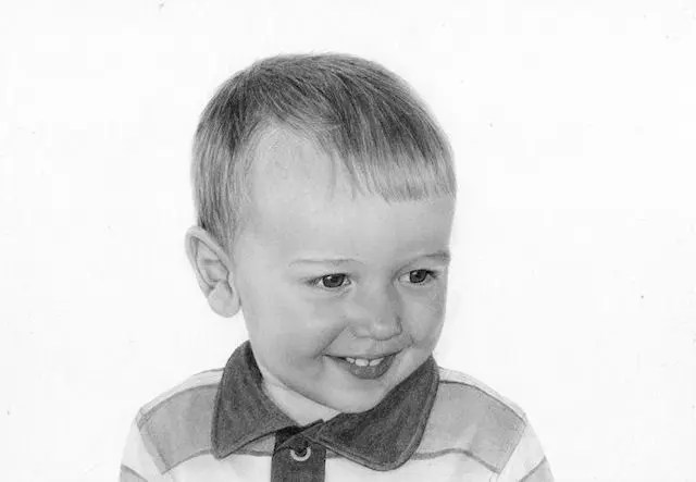 people drawing by Kathrin Guenther, child, boy, toddler, graphite art