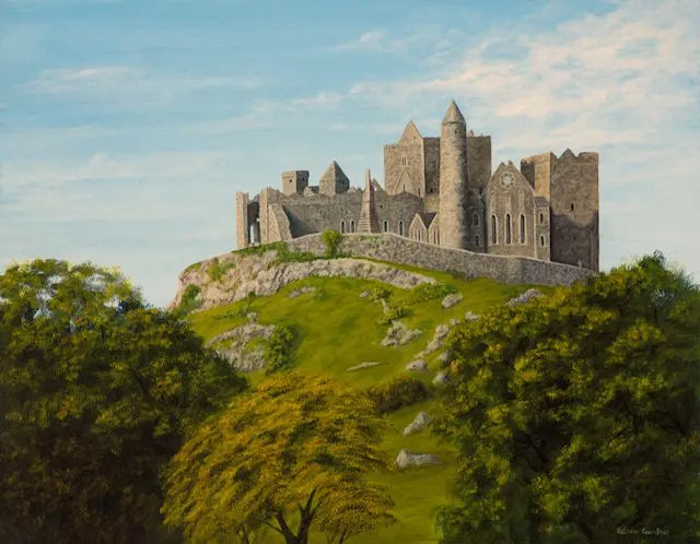 Rock of Cashel painting by Kathrin Guenther, acrylic painting, equine art