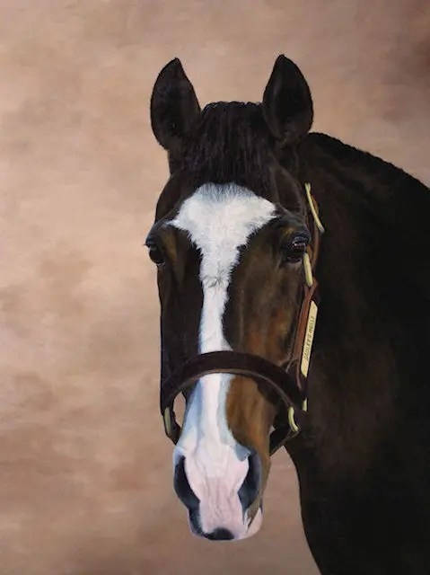 Sadler's Wells painting, stallion painting by Kathrin Guenther, acrylic painting, equine art