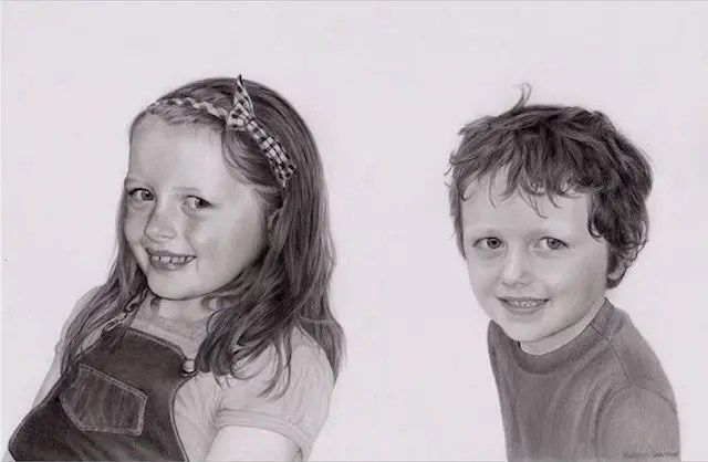 Siblings, children portrait, Kathrin Guenther, graphite art, web file