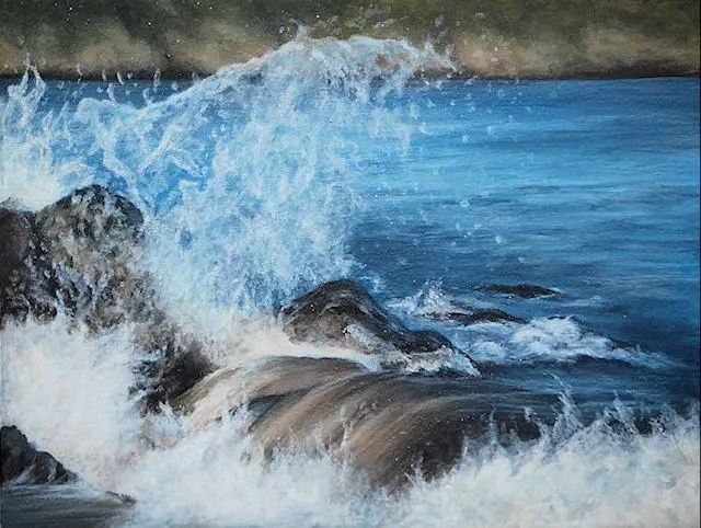 waves, seascape painting by Kathrin Guenther, acrylic painting
