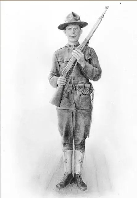 WW1 soldier, graphite drawing, Kathrin Guenther, web file