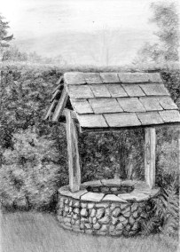 garden well, graphite drawing, Kathrin Guenther, web file