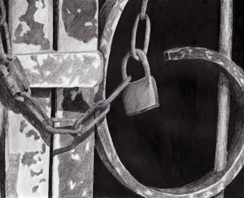 gate lock, graphite sketch, Kathrin Guenther, web file