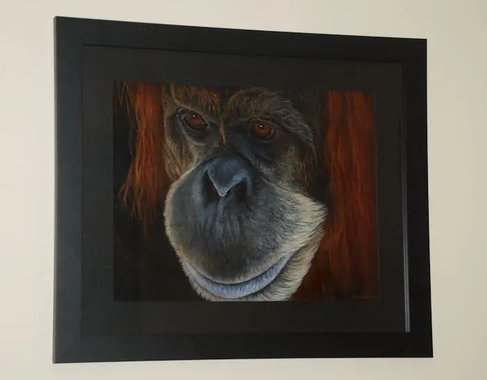 Orangutan painting by Kathrin Guenther, acrylic painting, wildlife art