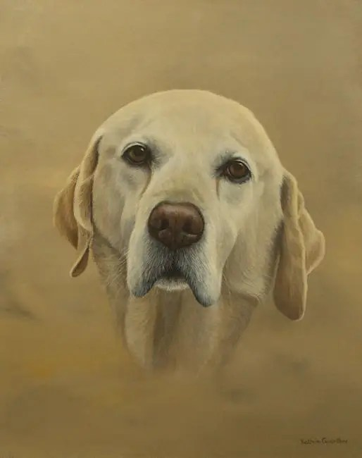 Golden Labrador painting by Kathrin Guenther, acrylic painting, equine art