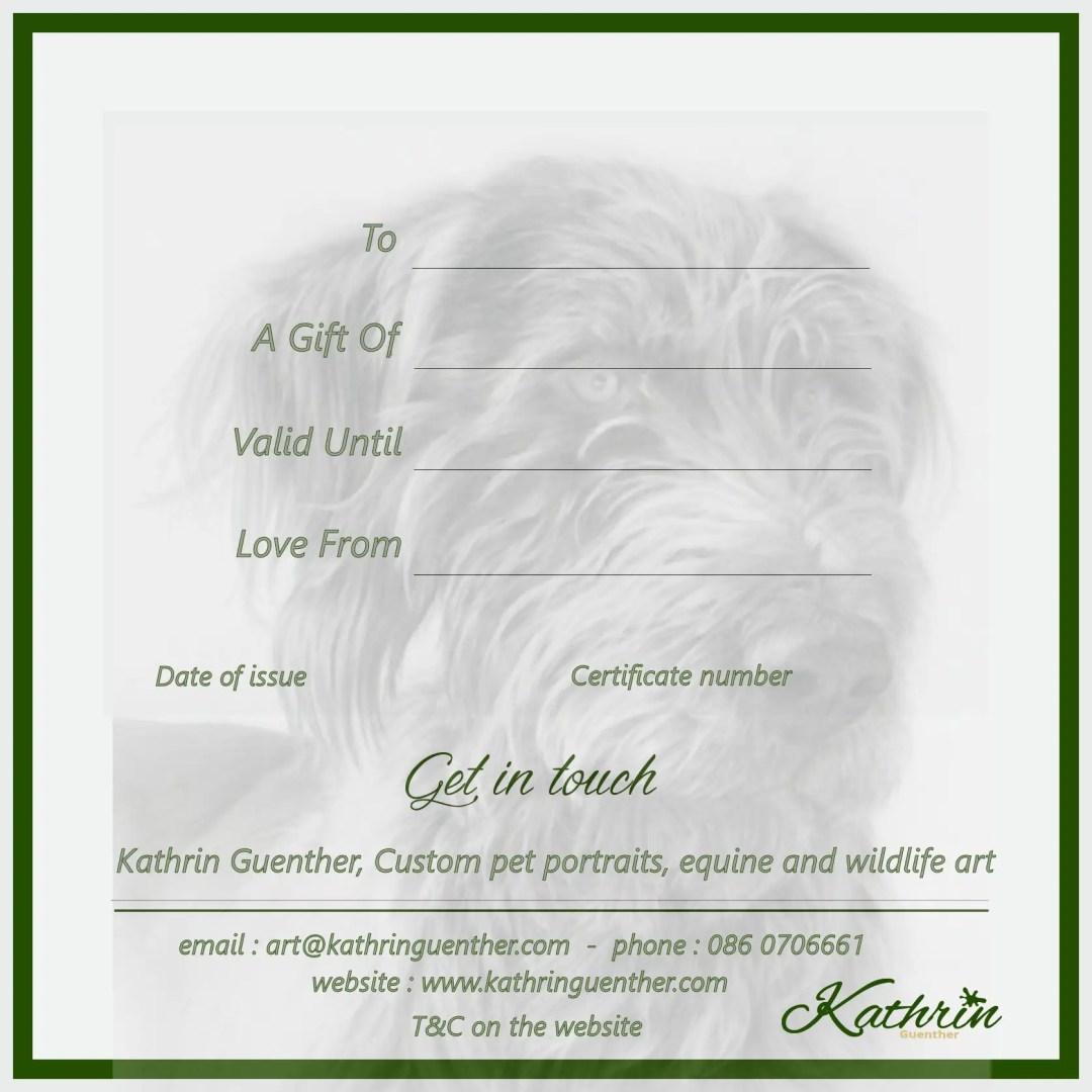 gift voucher wildlife art from KathrinGuenther artist