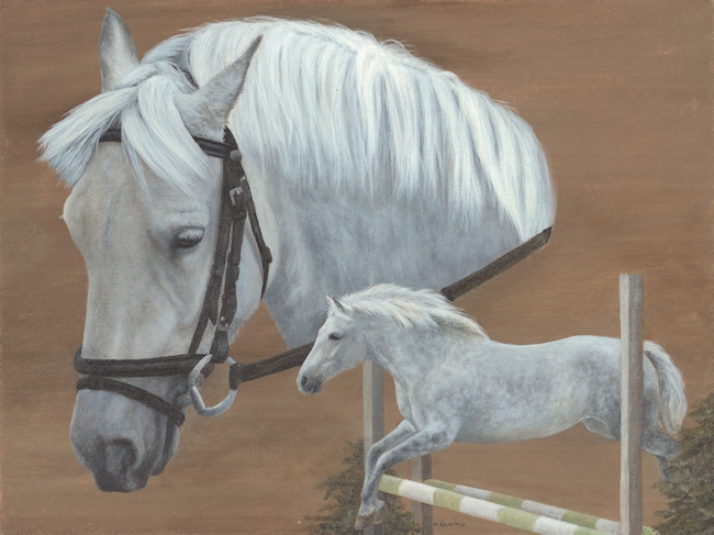 Grey horse painting, Kathrin Guenther, art, artist, equine art