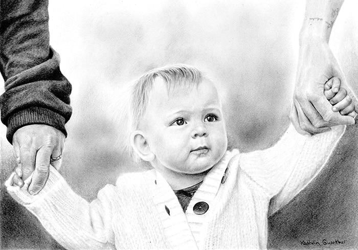 child portrait drawing, toddler portrait, graphite art