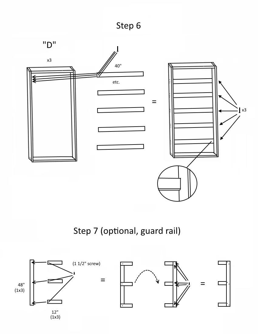Triple bunk bed plans page 4, step2 6-7