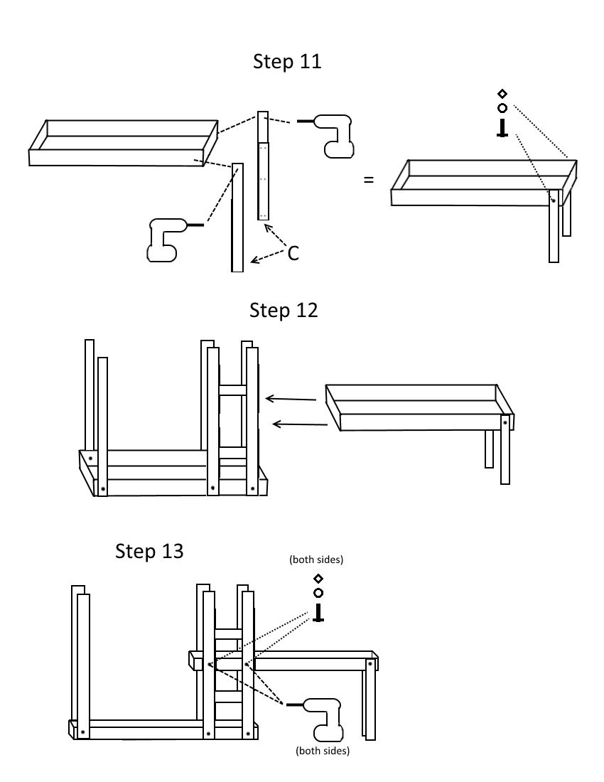 Triple bunk bed plans page 6, steps 11-13