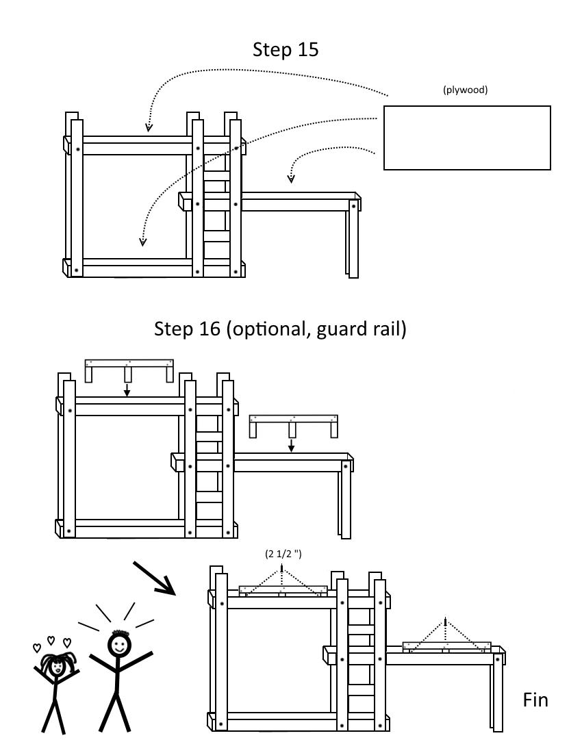 Triple bunk bed plans page 8, steps 15-16