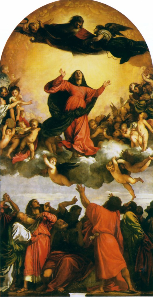 Oil painting of the Assumption of the Virgin by Titian, 1516 - 1518