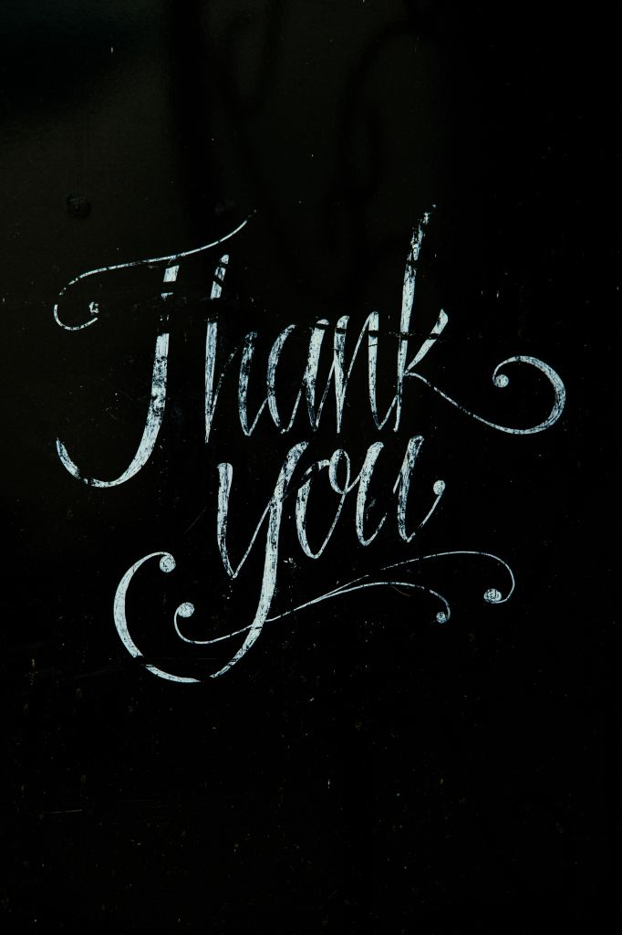 "Chalk lettering of words ""thank you"""
