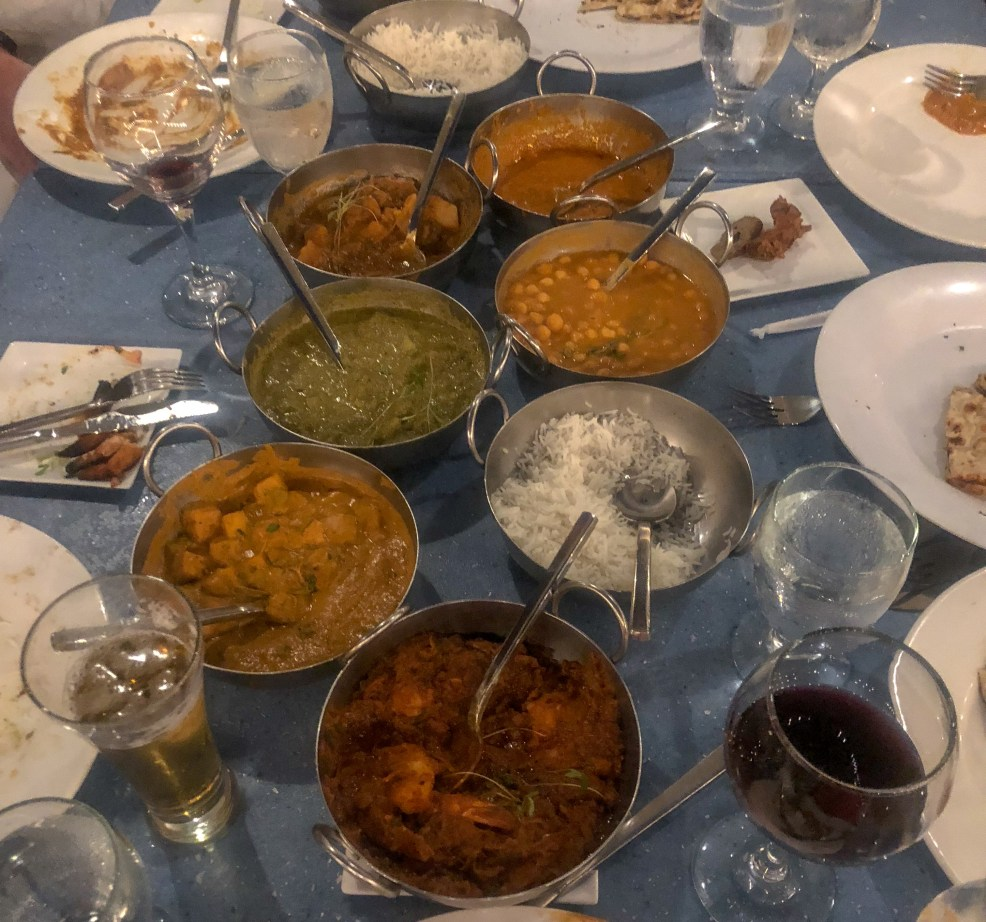 Left overs from an amazing Indian meal at Bombay