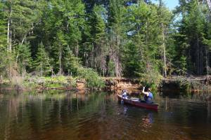 mom and son canoeing on bonnechere river