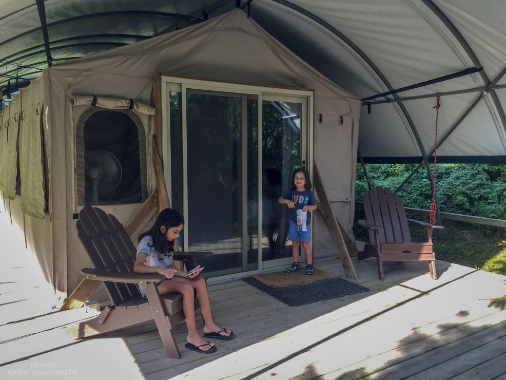 Luxury Family Glamping Ontario, children on front verandah