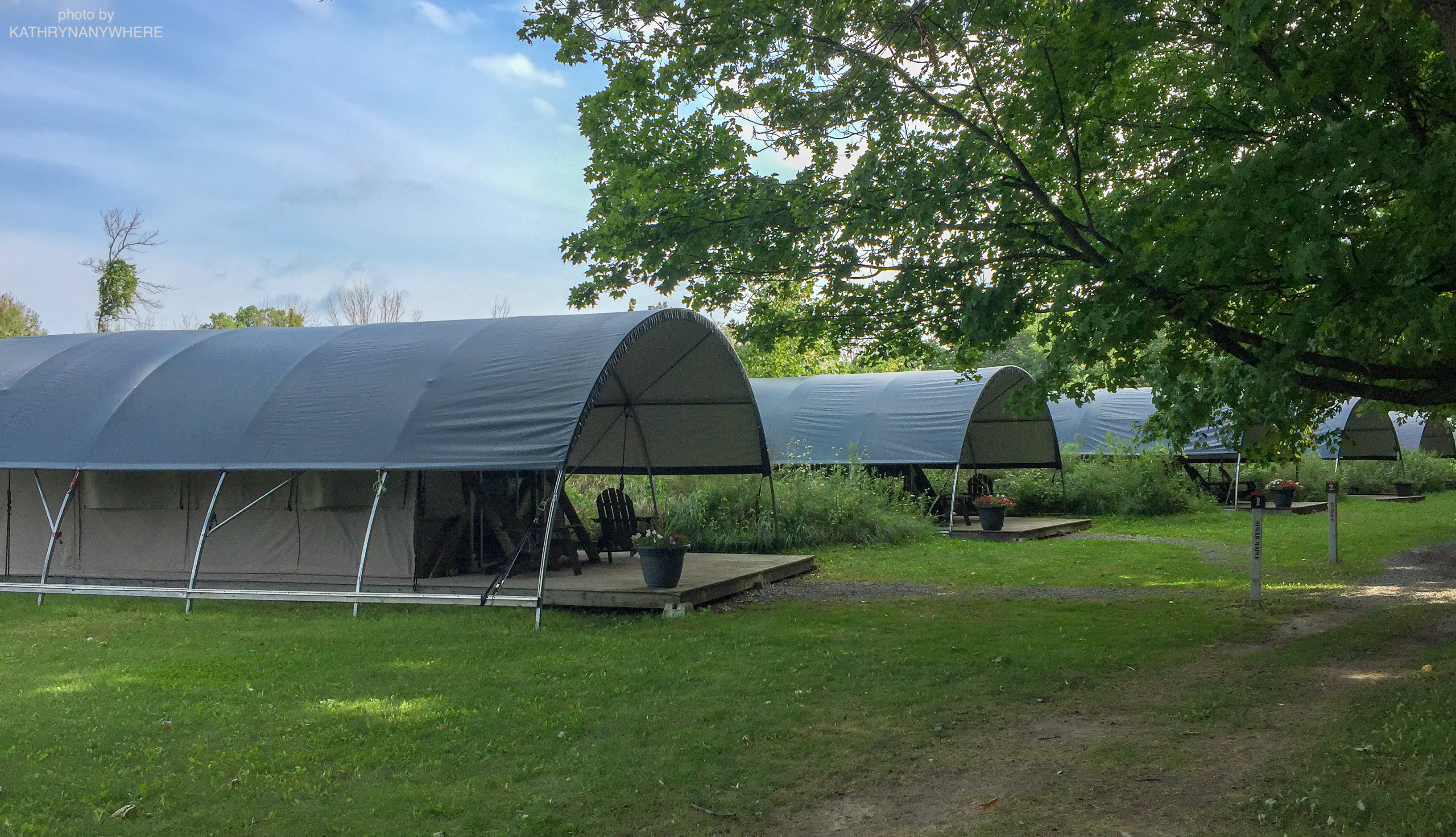 Luxury Family Glamping Ontario, front of tents 1-4