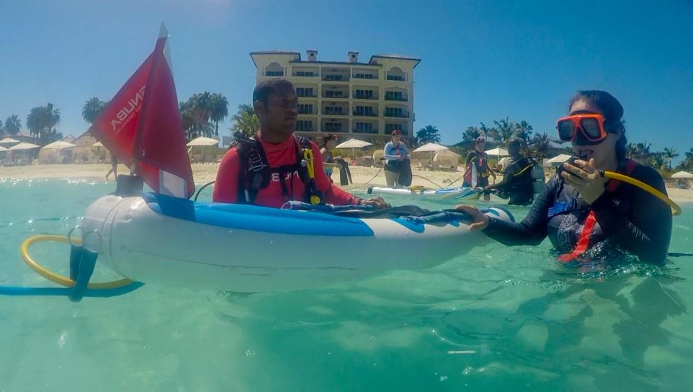 Snuba from the Beach, with Dive Master Johnny and Sara - Beaches Moms in Turks and Caicos Snuba crew, October 2018 #diving #Scuba #dive #Sea #snorkeling #scubadive #SNUBA #snubalife #whyyoushouldtrysnuba #turksandcaicos #BeachesMoms #BeachesResorts #sarapittard