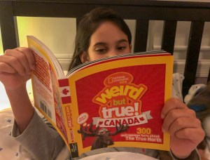 National Geographic Kids Weird But True! Canada, being read at bedtime #natgeokids #weirdbuttrue #weirdcanada #canadafacts #keepitwerid