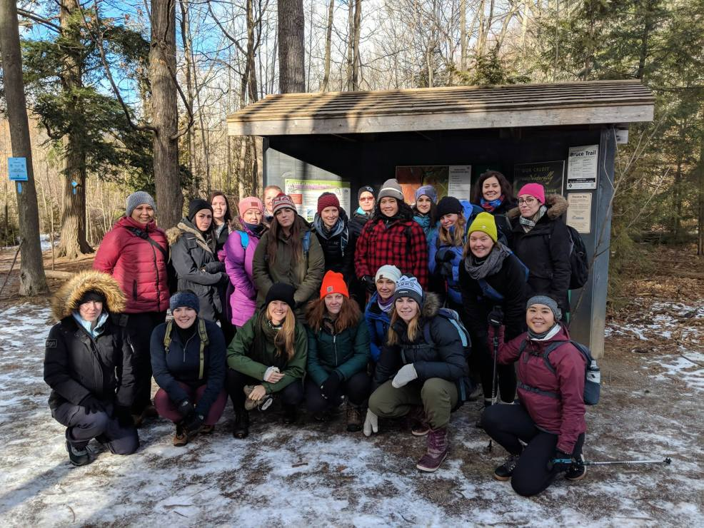 The group of Women Who Explore before the hike at Silvercreek Conservation Area