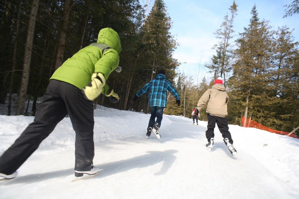 Skating at MacGregor Point Provincial Park oval. Photo courtesy of Ontario Parks