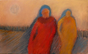 Two Women and a Moon, oil painting by Kathryn Dettwiller, 2 ladies walking with the moon
