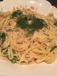 Fresh Egg Fettuccine with smoked trout, asparagus, white wine & dill sauce