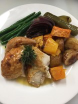 Roasted Chicken and Vegetables with sautéed Beans