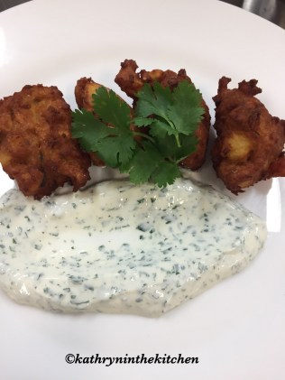 Spicy Sweet Potato Pakoras with Coriander Raita