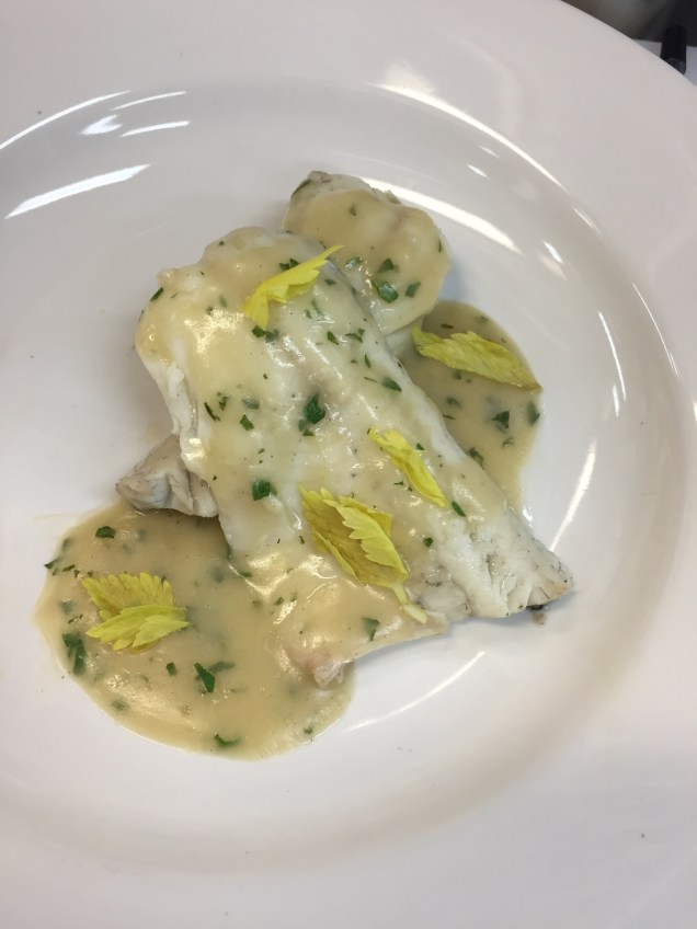 Finished dish - Whiting fillets with Parsley Sauce