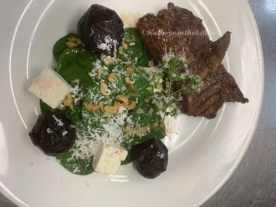 Marinated Lamb, roasted Beetroot, Spinach & Feta Salad