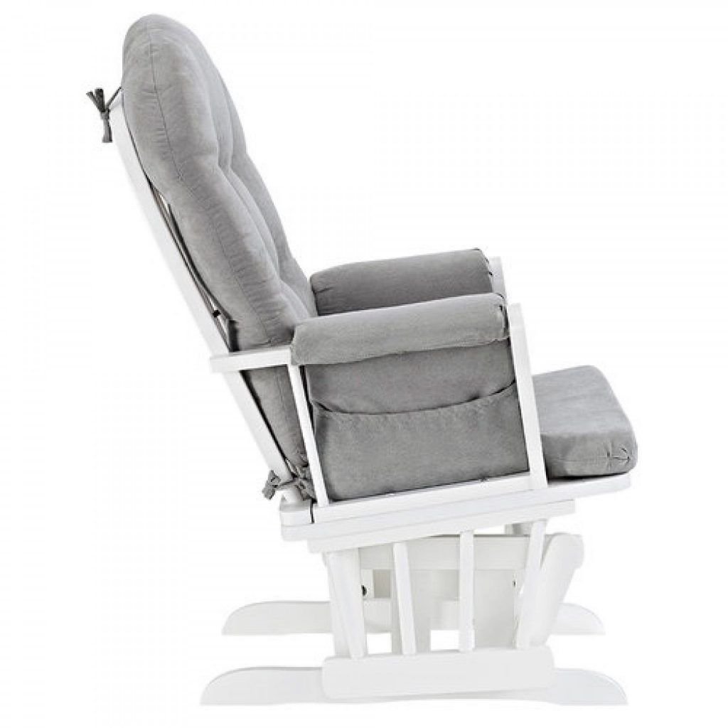 White Nursery Rocking Chair Glider And Ottoman Set White Finish Gray Cushions Nursery