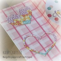 A heart shaped die cut out of card using the Bargello papercraft technique