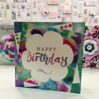 Handmade card using Trimcraft First Edition Wild Flower papers and Dovecraft large sentiment stamps