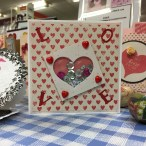 Valentine's shaker card inspiration made at my Hobbycraft demonstration