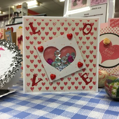 Valentine's shaker card inspiration made at my Hobbycraft demonstration