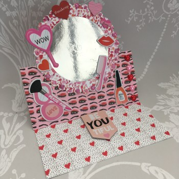 Mirror easel card made using the Dovecraft Kiss and Makeup collection