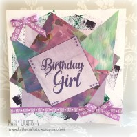Card made with First Edition Wild Flower papers and a Dovecraft large sentiment stamp