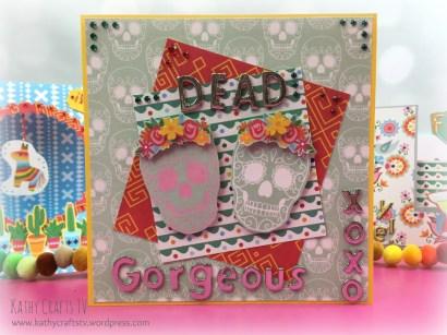 Handmade sugar skull card Dead Gorgeous