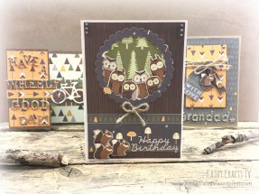 Woodland themed card owls and squirrels